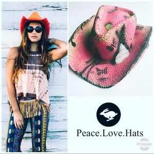 PETER GRIMM PINK WOVEN STRAW FESTIVAL COWBOY HAT